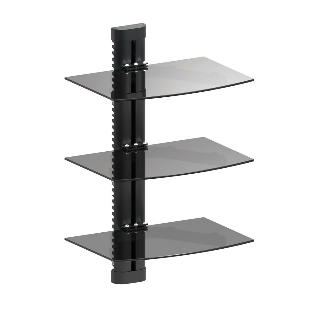 3 Tier Triple Glass Shelf Wall Mount Bracket Under Tv