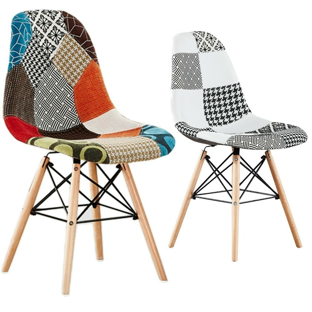 Retro Modern Dining Chair Blue Fabric: Moda Patchwork Eiffel Chair For Dining Room Lounge Fabric