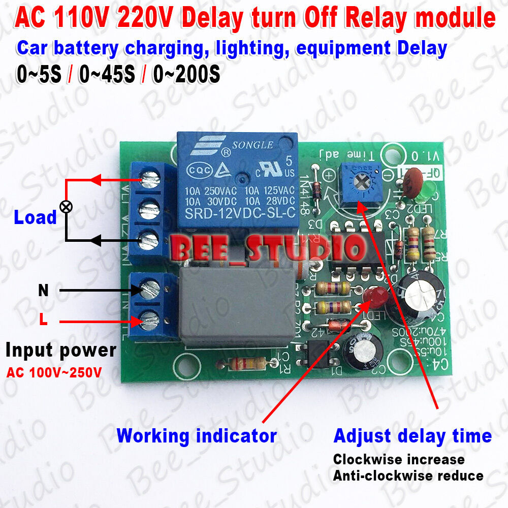 Ac 110v 220v Adjustable Time Delay Timing Timer Turn On