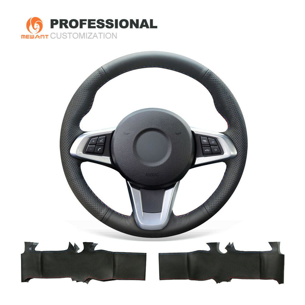 Hand Stitch Black Genuine Leather Steering Wheel Cover For
