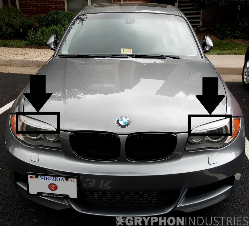 bmw 1 series frosted lci eyebrow headlight overlay decals. Black Bedroom Furniture Sets. Home Design Ideas