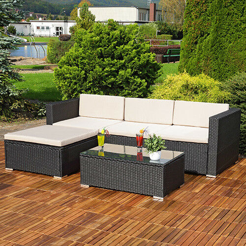 Corner Recliner Sofa Ebay: RATTAN GARDEN FURNITURE CORNER SOFA SET LOUNGER TABLE