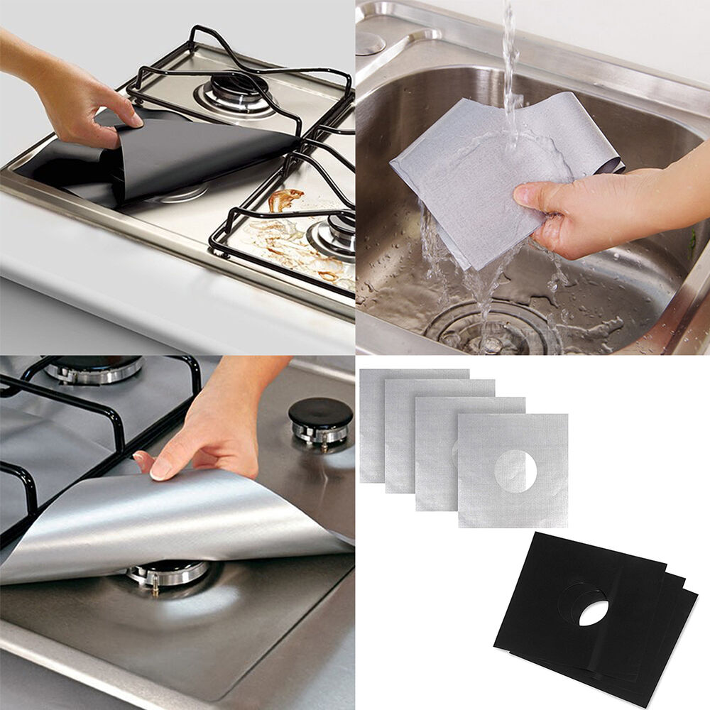 Kitchen Bar With Stove: Kitchen Bar Reusable Stove Top Protector Foil Gas Hob