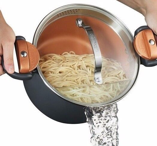 Gotham Steel Non Stick Pasta Pot With Glass Lid And Built