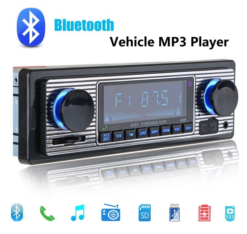 vintage classical style car stereo radio bluetooth usb sd mp3 aux in phone 1din ebay. Black Bedroom Furniture Sets. Home Design Ideas