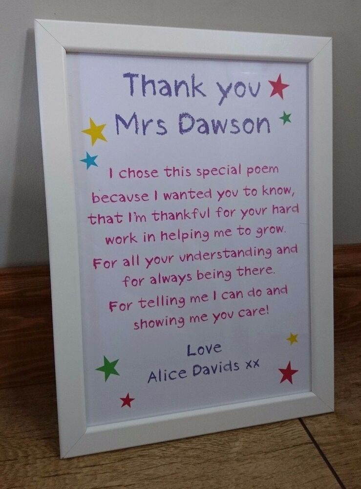 A4 Personalised Teachers goodbye Thank you school leaving ...