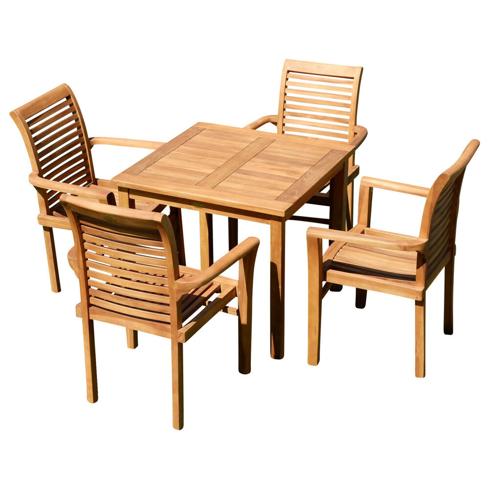 teak gartengarnitur tisch 80x80cm alpen 4x sessel gartenset gartenm bel holz ebay. Black Bedroom Furniture Sets. Home Design Ideas