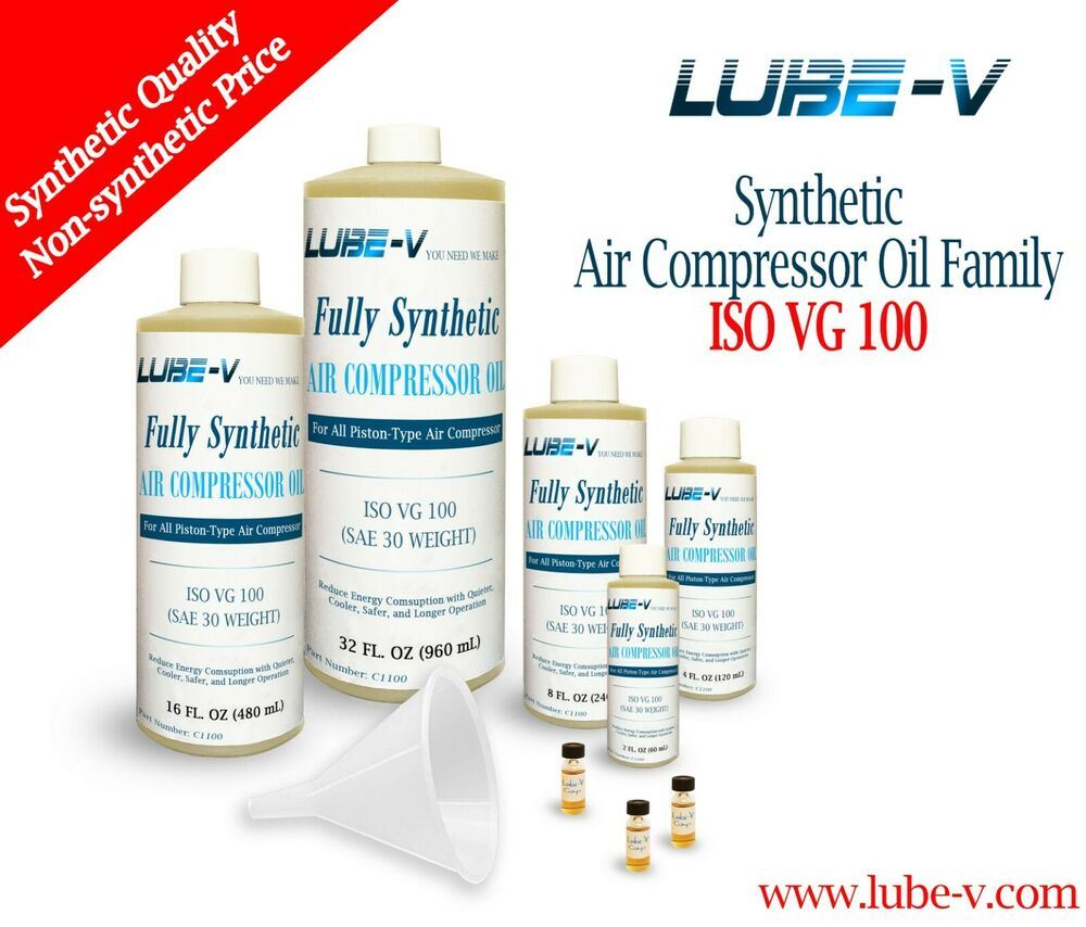 Details about Lube-V 100% Synthetic Piston Air Compressor Oil Lubricant ISO 100, SAE 30 Weight