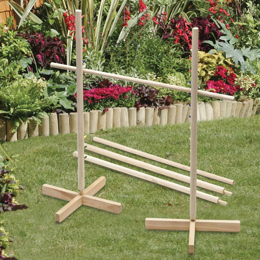 M wooden limbo set pole bar kids adults family garden