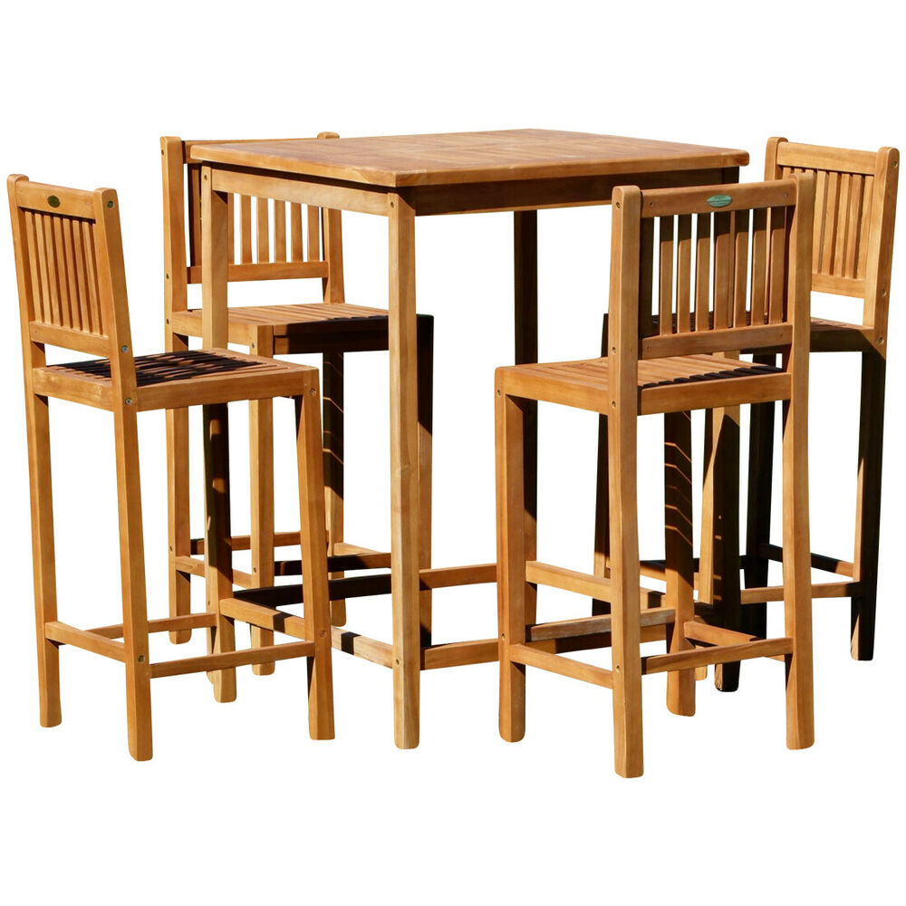 bar set teak bartisch bistrotisch stehtisch 80x80 mit 4x barhocker holz bima ebay. Black Bedroom Furniture Sets. Home Design Ideas