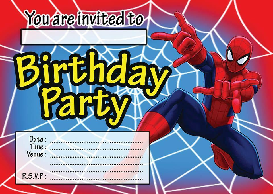 It's just a photo of Soft Printable Spiderman Invitations