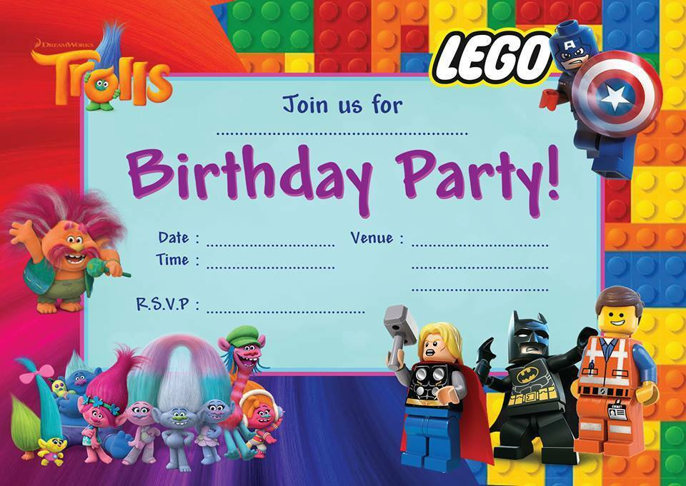 LEGO MOVIE TROLLS JOINT CHILDRENS BIRTHDAY PARTY INVITATIONS DOUBLE ...