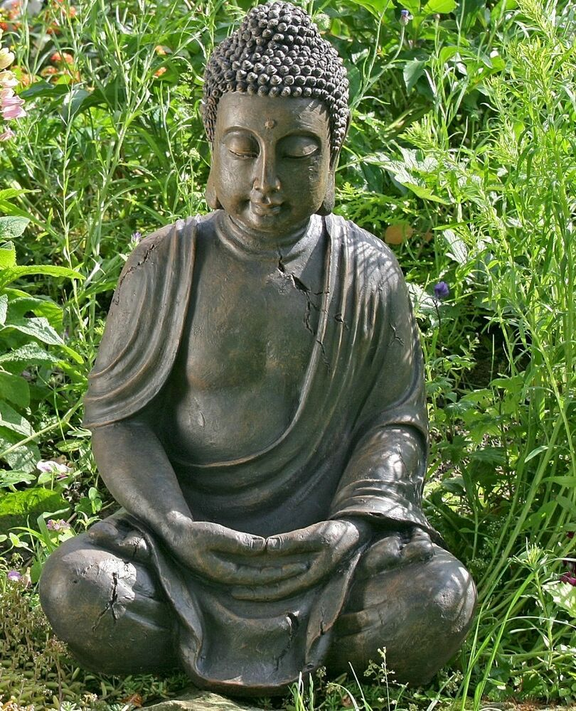 buddha statue skulptur 70 x 45cm figur modell m nch garten braun neu ebay. Black Bedroom Furniture Sets. Home Design Ideas