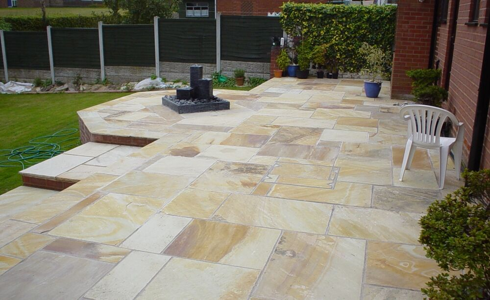 Mint Fossil Indian Sandstone Paving Patio Slabs 25 40mm
