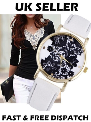 Elegant Vintage Lace Print Lacework Women's Watch Dress Fashion White Black Pink