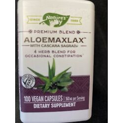 Aloe Max Lax Nature's Way Laxative 100 Caps FAST SHIPPING 1st Class Mail