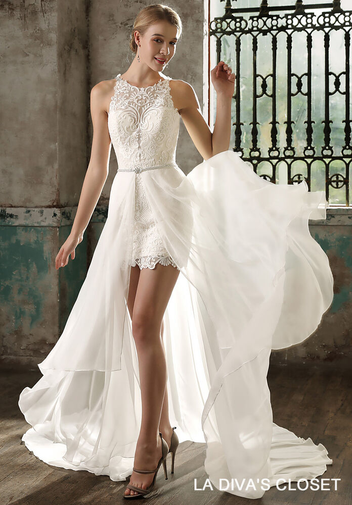 Formal Mini Wedding Dress With Datachable Train Delivery In About