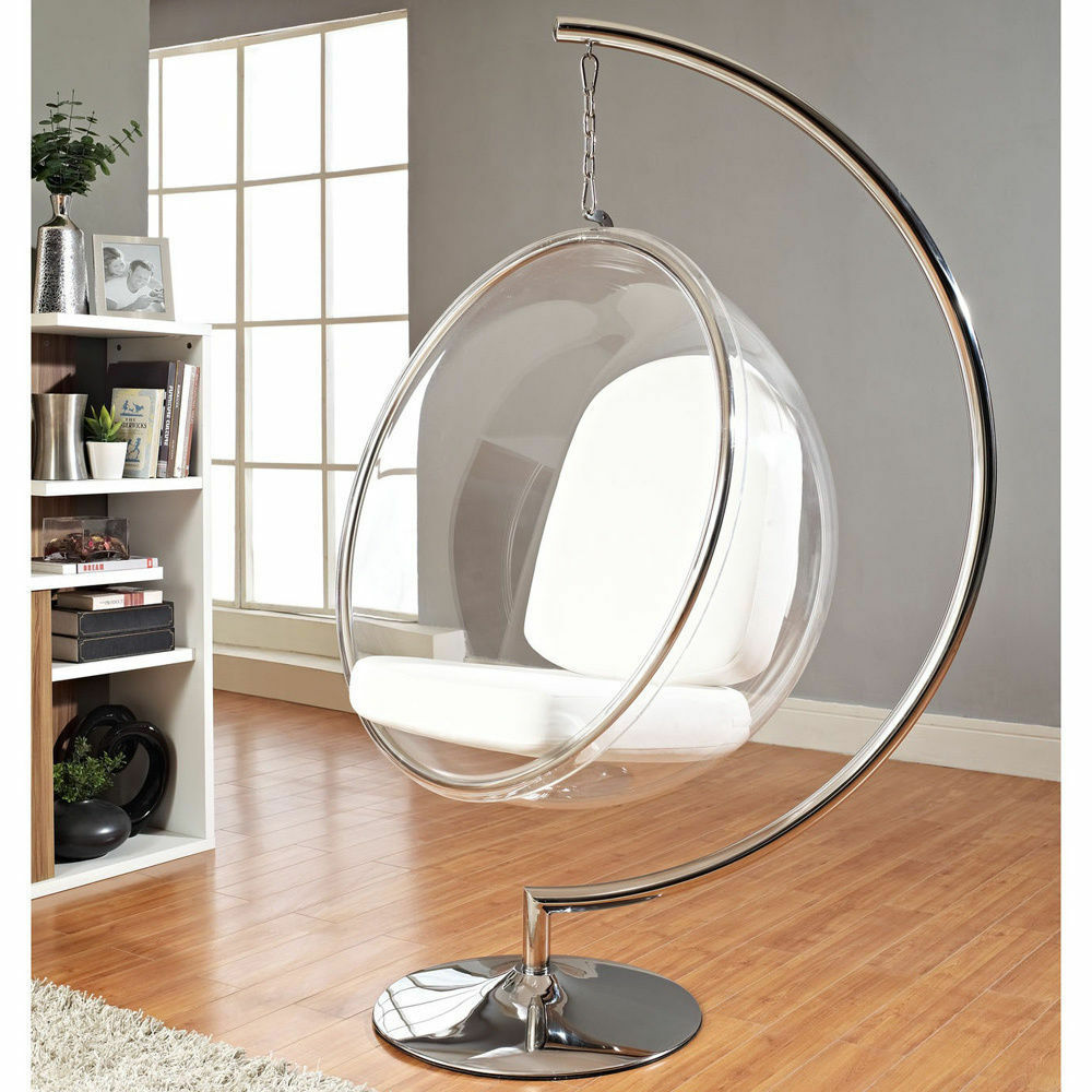 Eero Aarnio Standing Hanging Bubble Chair With Silver Or