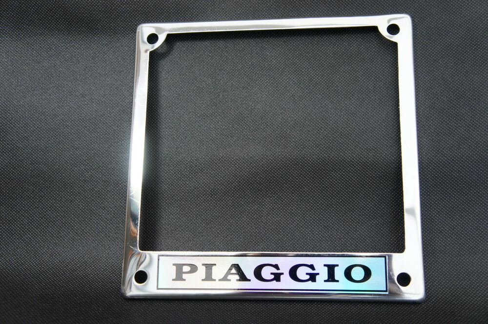 vespa piaggio chrome number plate surround ebay. Black Bedroom Furniture Sets. Home Design Ideas