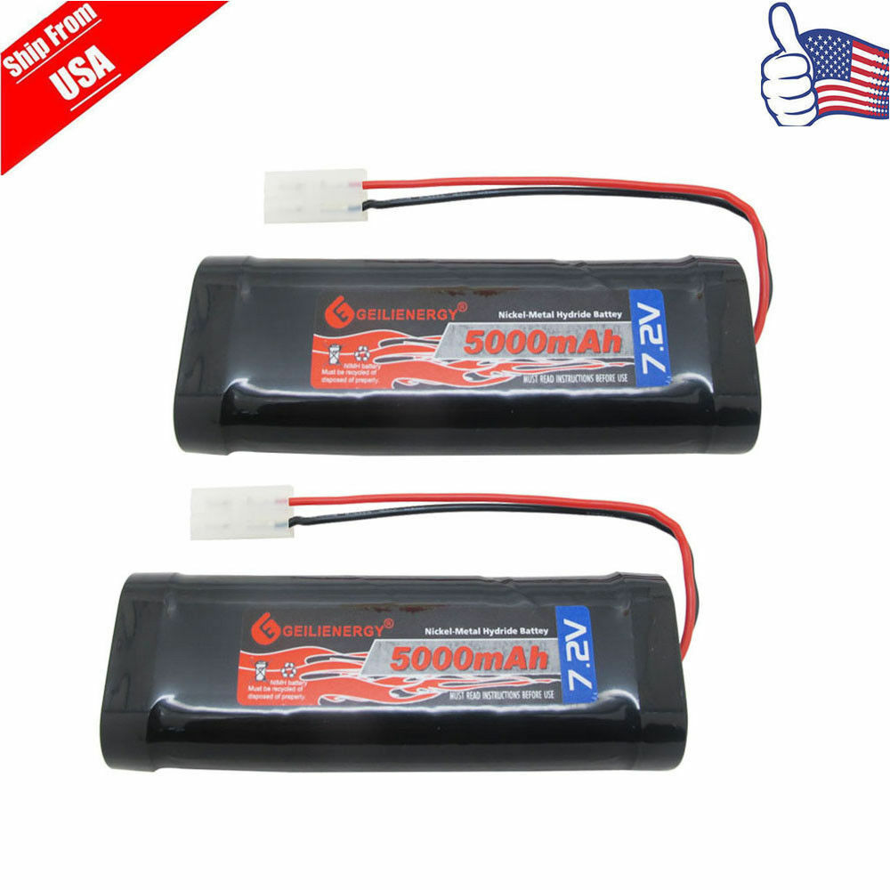 Details About 2pcs 7 2v 5000mah Nimh Rechargeable Battery For Rc Car With Tamiya Plug Usa