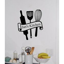 Personalized Kitchen Name & Utensils Vinyl Wall Sticker Decal Wall Decor