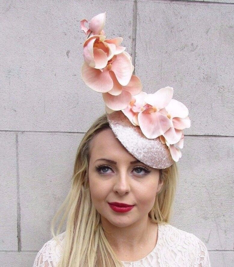 ac194852801 Details about Large Blush Pink Champagne Orchid Flower Fascinator Hat Races  Pillbox Hair 3524