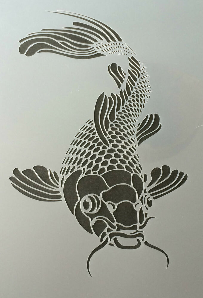 The koi fish mylar reusable stencil airbrush painting art for Koi fish stencil