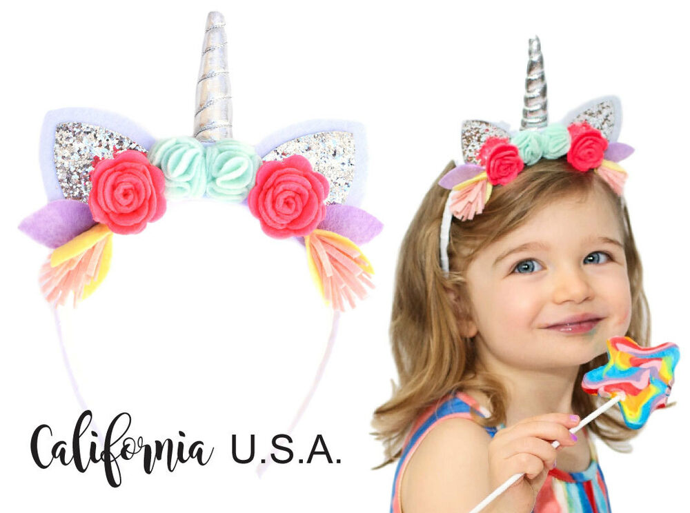 Details about California Tot Toddler Baby Unicorn Headband Glitter Ears Horn  Felt Floral Crown 0995aa0a6ed