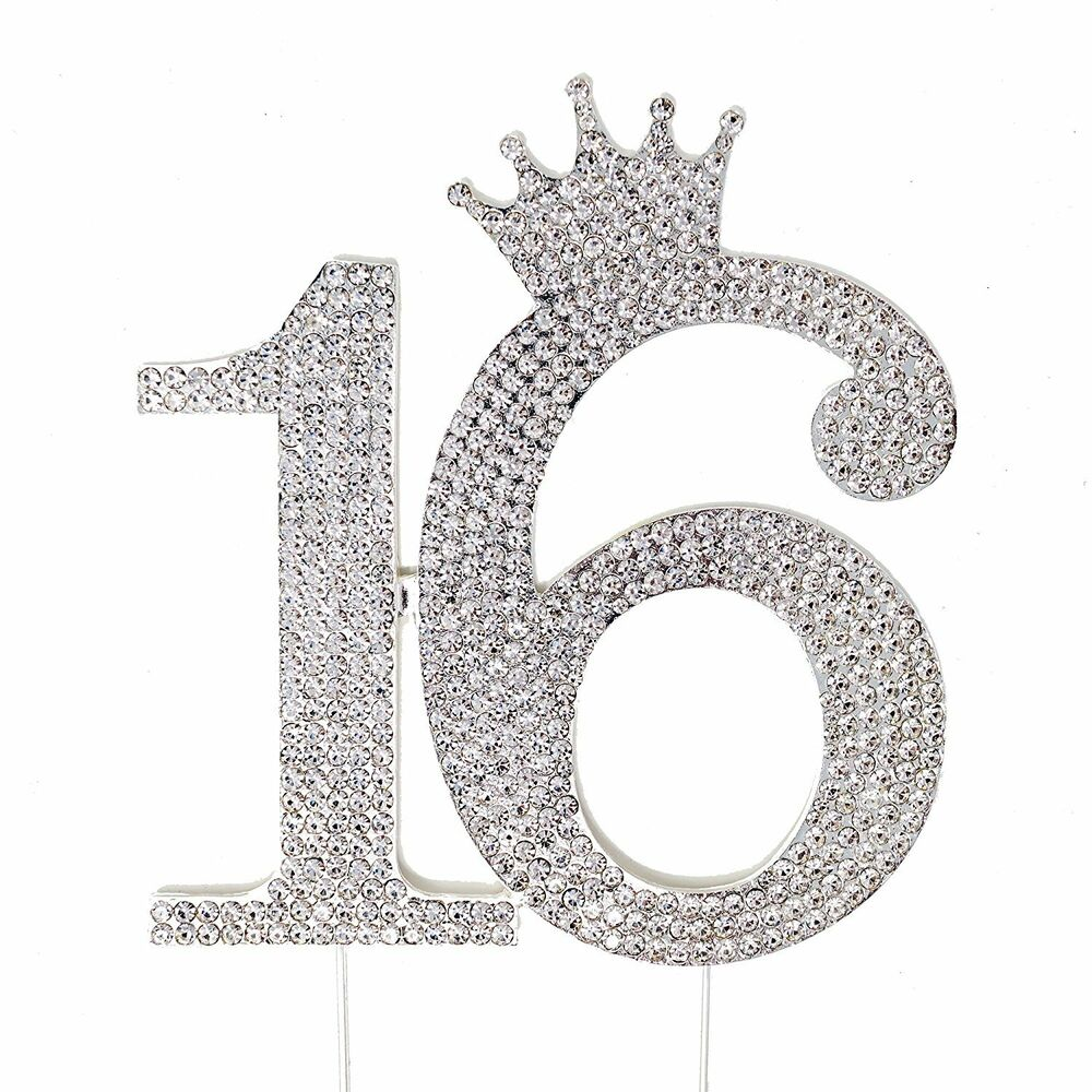Sweet 16 Silver Crown Cake Topper Crystal Rhinestone