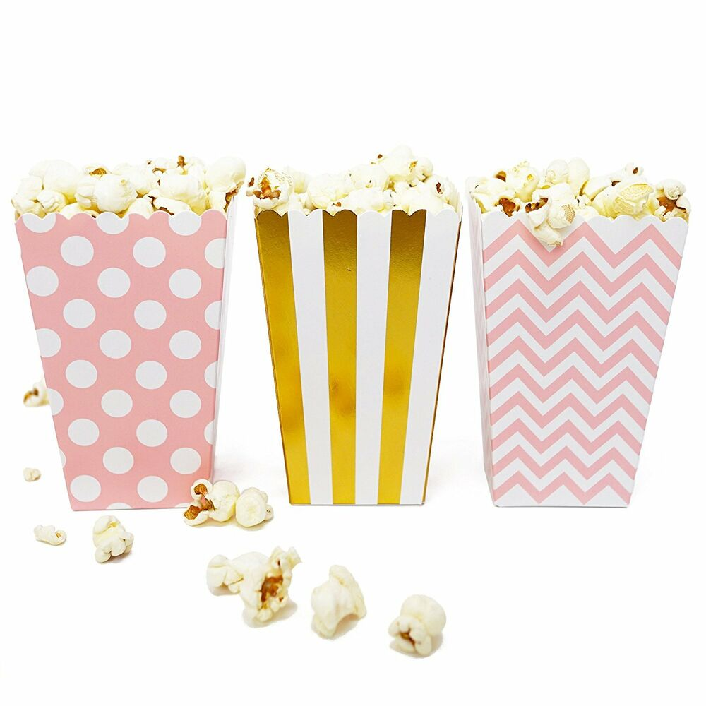 36 Pink Gold Polka Dot Stripe Chevron Mini Popcorn Boxes Candy Party ...