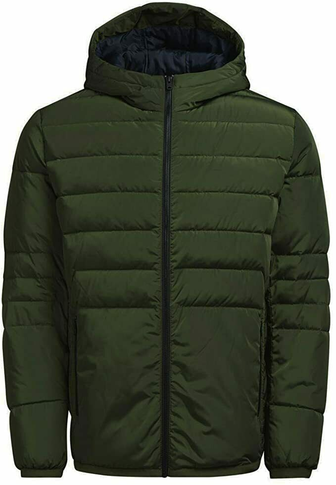 Jack And Jones Jcobin Light Weight Padded Hooded Jacket Rifle Green