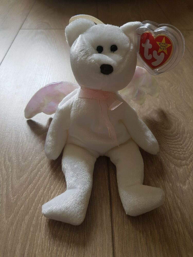 f8d1ec855ae Details about TY ☆ORIGINAL☆ beanie baby  HALO  bear   RARE   ☆pearly wings  ☆red stamp☆ in tush