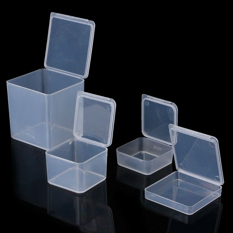 Small Clear Square Plastic Jewelry Storage Boxes Beads