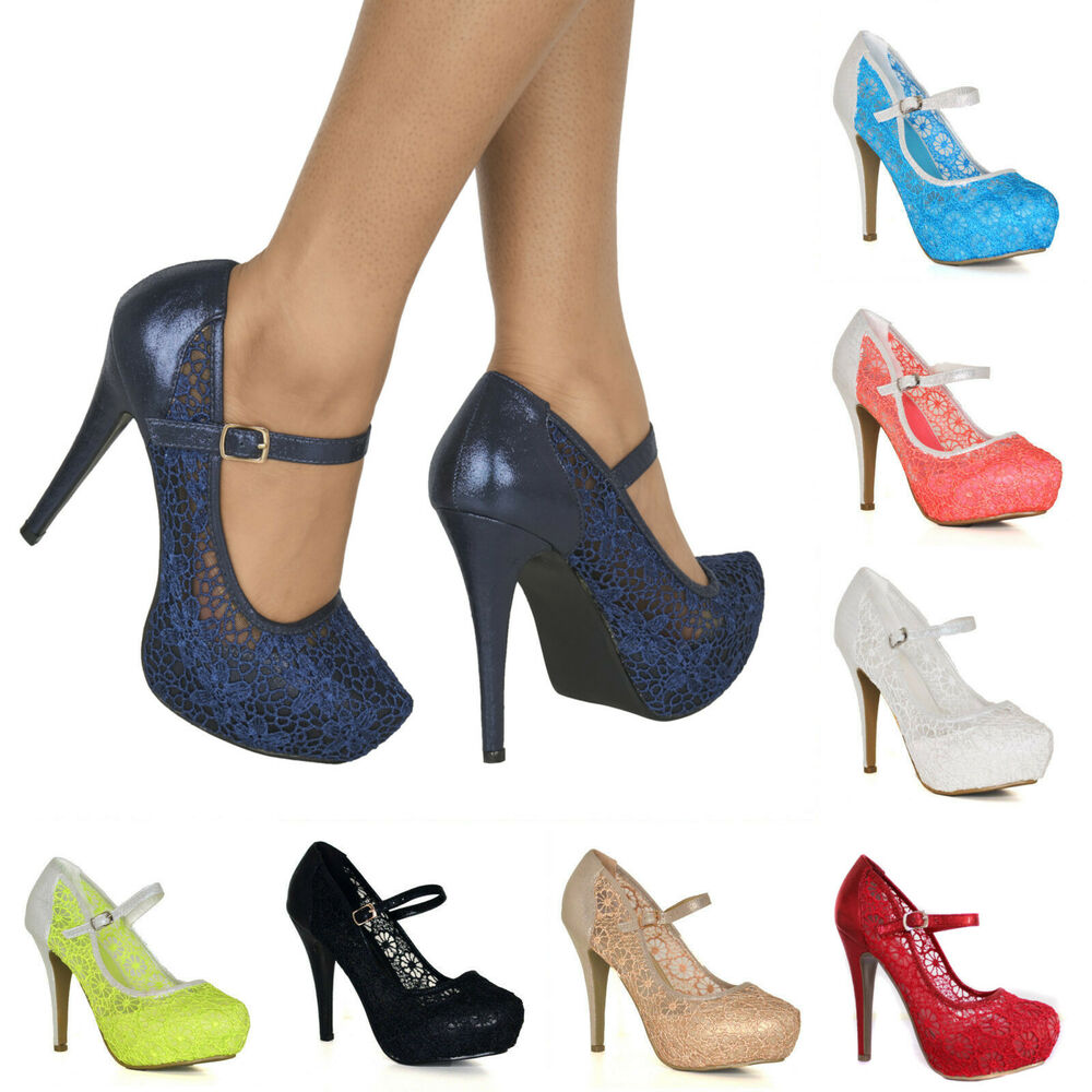ba90e95a2047 Details about WOMENS SEXY LACE HIGH STILETTO HEEL PLATFORM STRAPPY MARY JANE  FULL TOE SHOES