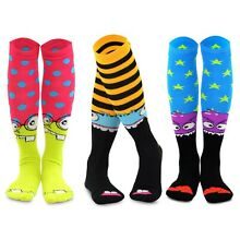 TeeHee Novelty Cotton Knee High Fun Socks 3-Pack for Junior and Women (Monsters)