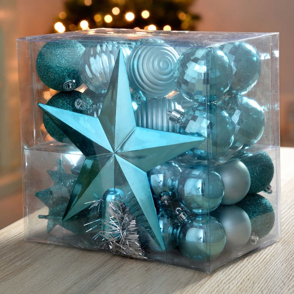 Turquoise And White Christmas Tree: Turquoise Blue Duck Egg Christmas Tree Shatterproof Bauble