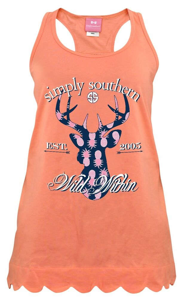 ddfec873399bc8 Details about Simply Southern Deer Wild Within Tank Top Cotton Tee Shirt