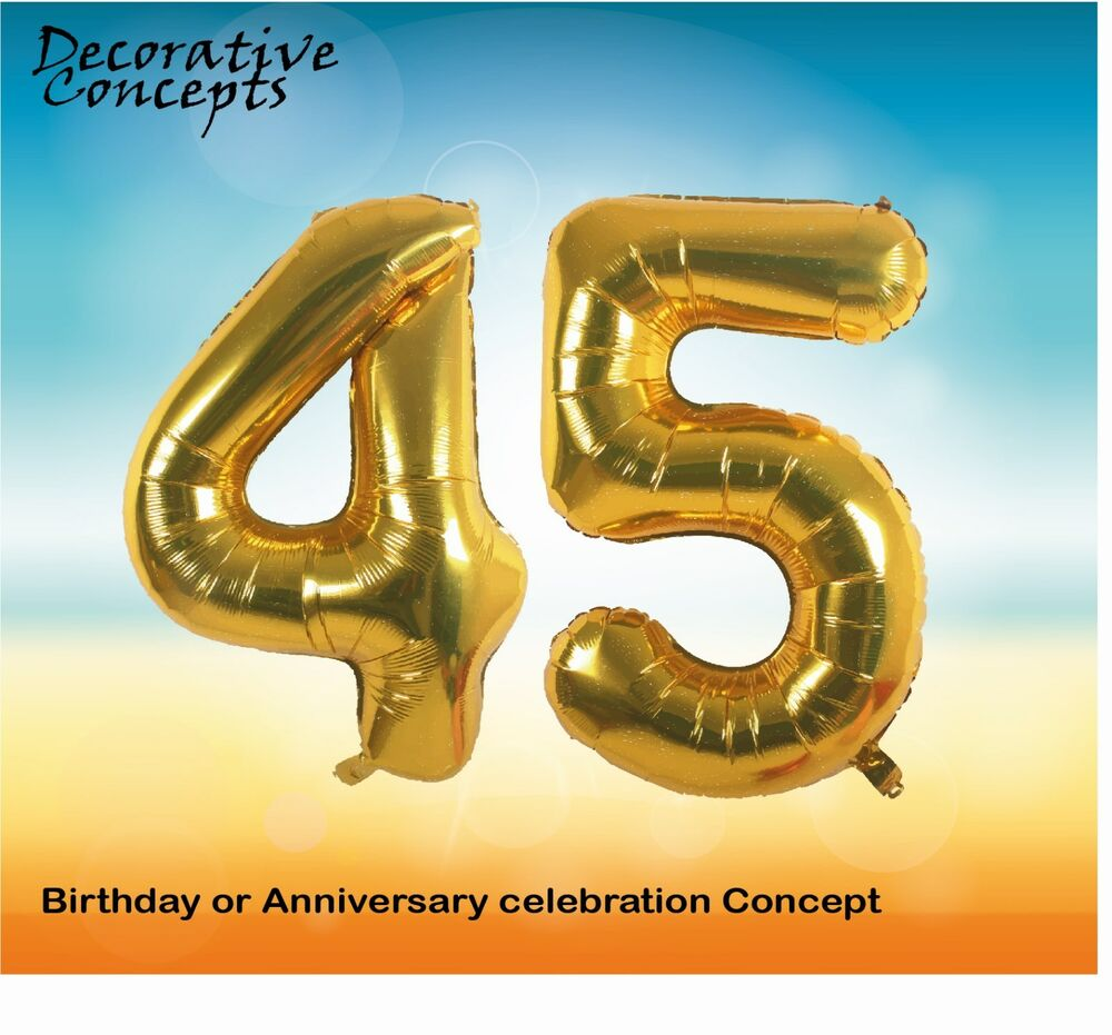 Details About Giant 45th Birthday Party 40 Foil Balloon Helium Air Decoration Age 45 GOLD