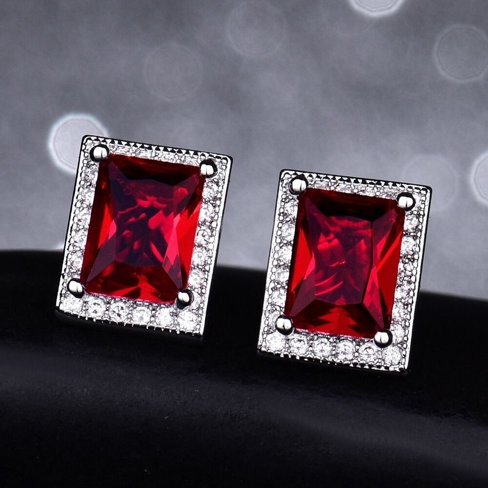 3830f4fbd Details about 18k White Gold Ruby Red Stone and Diamond Stud Earrings 332