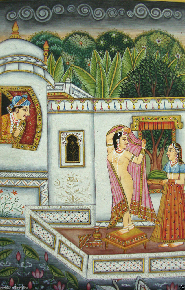 Online Kamsutra Store Nude Painting Naked Queen Rajput Art -6279