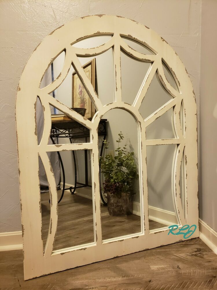 Distressed Shabby Rustic Vintage Cottage Arch Windowpane ...