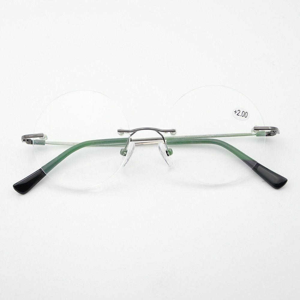 d4d685a4fe2 Details about 48mm Round Rimless Reading Glasses UV400 Coating Lens Reader  +0.00 ~+4.00