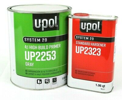 2K Urethane Primer HS Gallon Kit Gray DTM U-Pol UP2253 W/ UP2323 Std Hardener