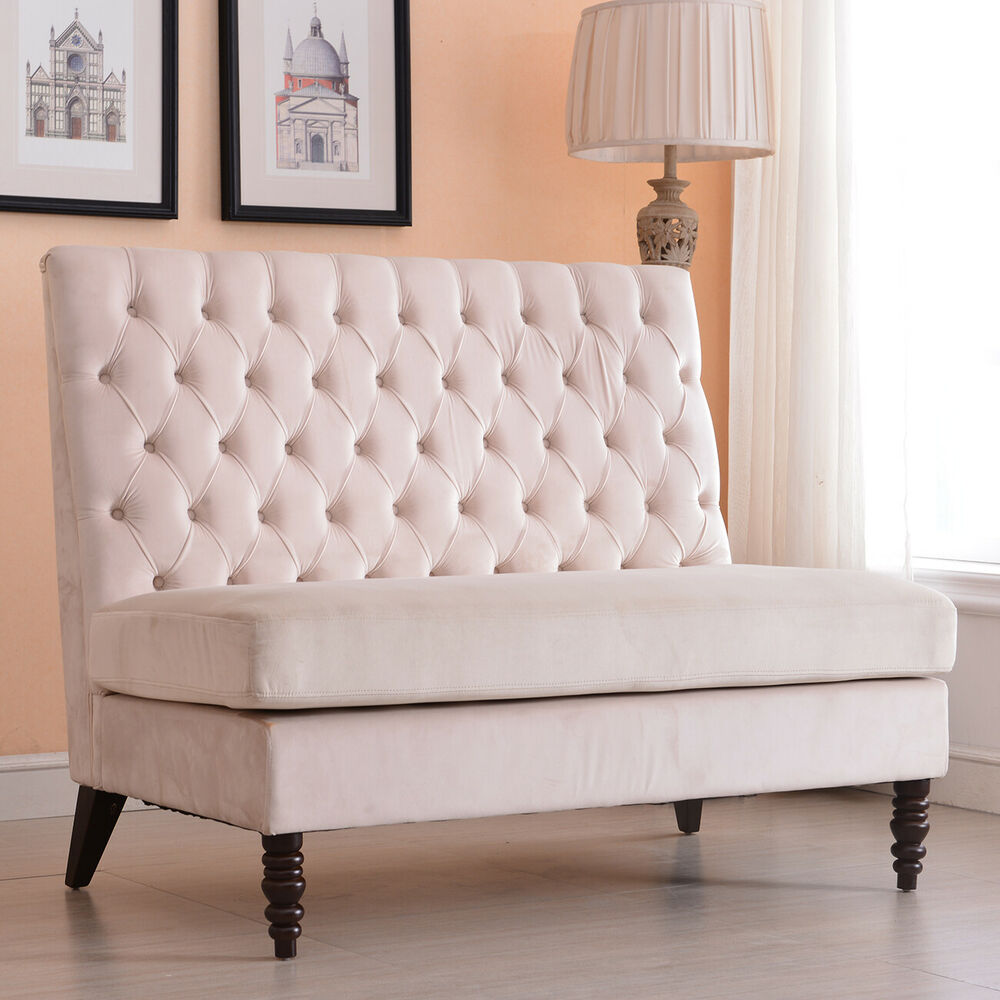 Velvet Modern Tufted Settee Bench Bedroom Sofa High Back Love Seat Beige Amp Gray Ebay