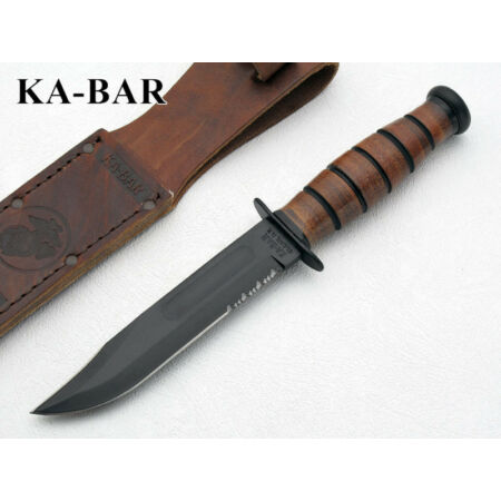 img-KA1252 Couteau Kabar USMC Short 1095 Carbon Blade Leather Handle Sheath Made USA