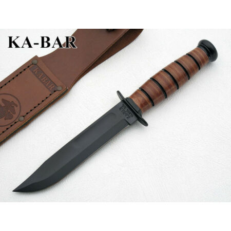 img-KA1250 Couteau Kabar USMC Short 1095 Carbon Blade Leather Handle Sheath Made USA