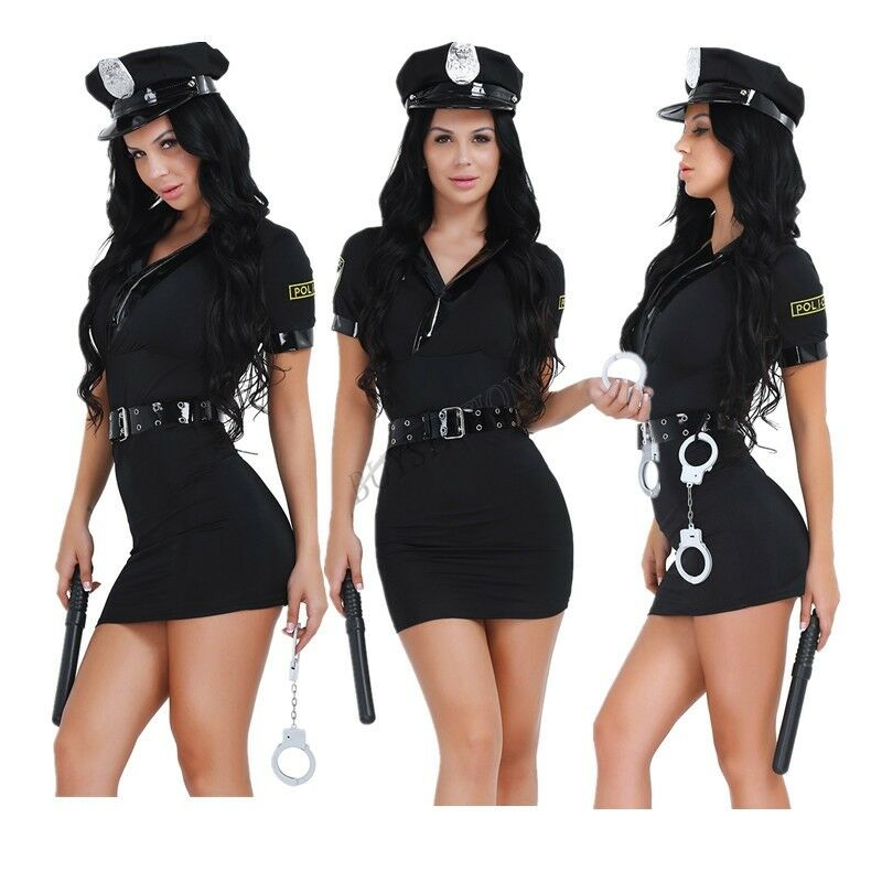 Women Police Cop Halloween Costume Fancy Dress Sexy Outfit -6836