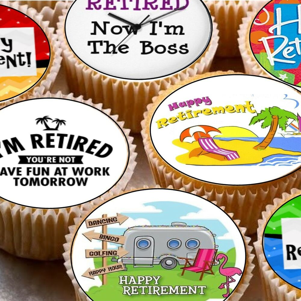 24 Edible Cake Toppers Cupcake Decorations Happy Retirement Retired