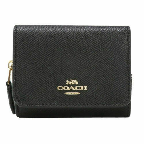 New Authentic Coach F54008 F59949 Soft Wallet in Crossgrain Leather Wallet Black
