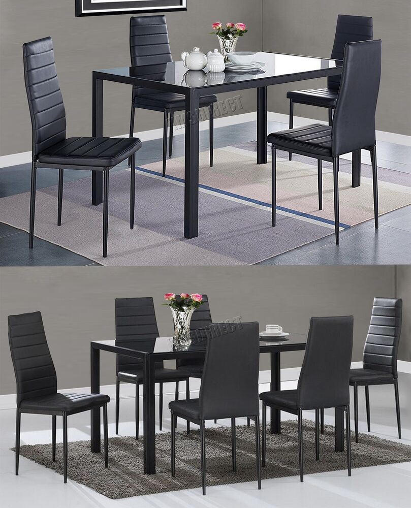 WestWood Glass Dining Table With 4/6 Chairs Set Faux